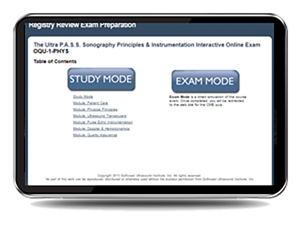CME - ULTRA P.A.S.S. Online Practice Exam Review: Sonography Principles and Instrumentation Registry Review - Mock Exam
