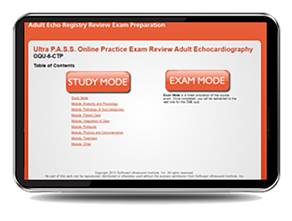 CME - Ultra PASS Online Practice Exam Registry Review: Adult Echocardiography - Mock Exam
